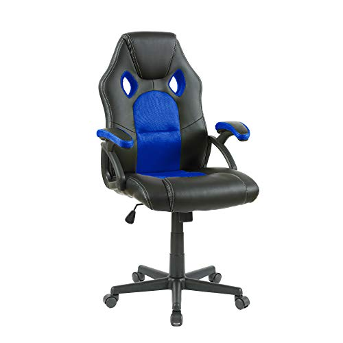 Neo® Tilt Swivel PU Leather Mesh Office Racing Gaming Style Computer Desk Chair (Blue & Black)
