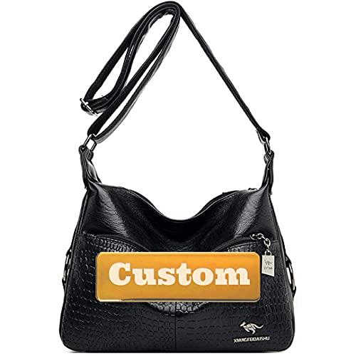 Nombre Personalizada Mujer Moda CHEPTER Bolsa DE HORADORES DE Cuero Bolsa DE CUERDO Hombro para Mujeres (Color : Negro, tamaño : One Size)