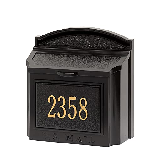 Whitehall Custom Wall Mount Mailbox Package - House Number and Street Name - Sand Cast Aluminum - Black Personalized in Goldtone