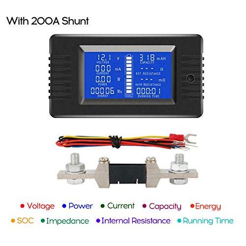 KKmoon Accu-monitor, DC-batterij capaciteitstester multimeter ampèremeter voltmeter spanningsmonitor 300A avec 200A Shunt