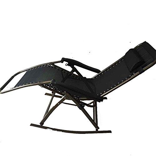 Chaise longue YNN Fauteuils inclinables Chaises Pliantes Chaise Pliante Lunch Break Lit Dossier Lounge Chair Fauteuil à Bascule Sit and Lie Chair Chaise de Plage Chaise de pêche (Couleur : Noir)