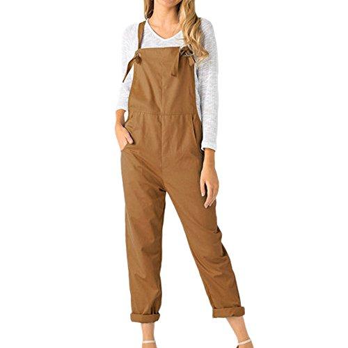 OSYARD Vintage Sommerhose Trousers Pants Romper Frauen, Damen Retro Latzhose Lässig Insgesamt Baggy Taschen Lange Harem Playsuit Hose Jumpsuits Overall