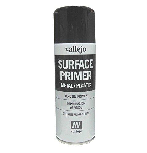 Outletdelocio. Vallejo 28012. Spray Pintura Imprimacion Negra de grano extrafino, para superficies de plastico o metal