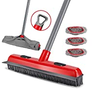 【2 in 1 Squeegee and Broom Design】: This broom has rubber bristles and soft scraper.The rubber Bristles gather up dust, hair, paper scrapes on floor. Dust or hair won't fly in the air while sweeping. If you need to clean the water and stains on the w...