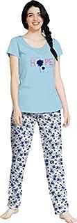 So Sweety Women Printed Sky Blue Top &Pyjama Set/Night Suits/Night Sets/Cotton Night Dress