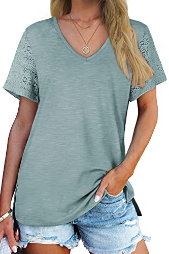 WIHOLL Womens Summer Tops Lace Short Sleeve V Neck T Shirts Side Split