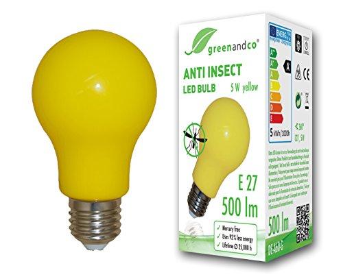 greenandco® Anti-Insekten LED Glühbirne E27, 560-580nm Wellenlänge, gelb, Nicht dimmbar, 2 Jahre Garantie