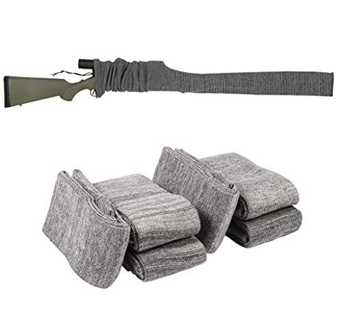 Allen Company Knit Gun Sock for Rifle/Shotgun with or without Scope Storage, Anti-Rust, Silicone Treated, Drawstring Closure, Pack of 6 (Gray, 52-Inch)