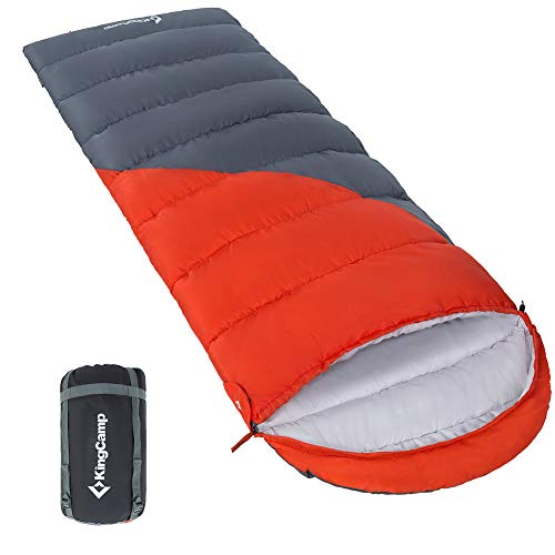 KingCamp Valley Series -14 Degree C / 6.8 Degree F Oversize Cozy Square Ripstop Cold Weather Sleeping Bag for Outdoor Camping, Hiking, Backpacking, Durable Compression Carry Bag