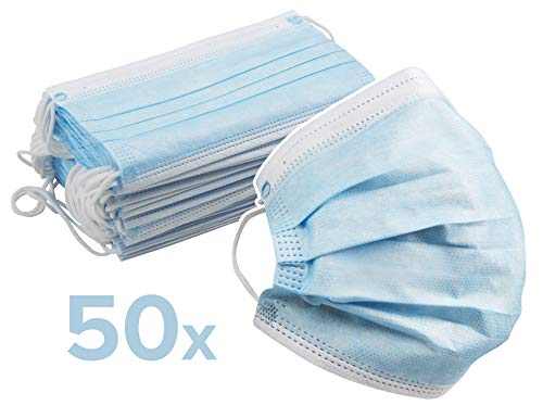 50 Stück Einweg Mund-Nase-Schutzmasken | Atemschutzmasken, Hygienemasken | DREI Schutzschichten, Vlies, Nasenbügel, Flexible Ohrbänder