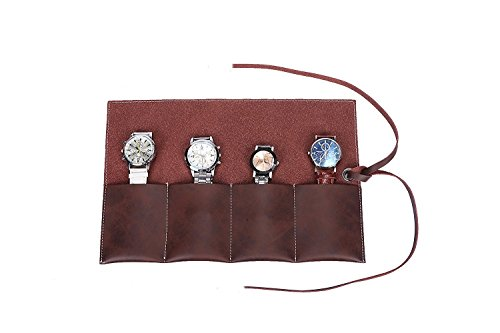 Organizador de relojes para viaje, de cuero de gamuza, hecho a mano, con capacidad para guardar hasta 4relojes o 4 pulseras, referencia de producto HGJ03 - A