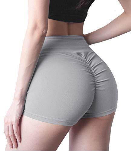DUROFIT Pantalones Cortos Deporte Mujer Cintura Alta Mallas Shorts de Deportivas de Mujer Shorts Fitness Pantalón Corto para Correr Gris L