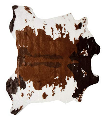 Luxe Faux Fur Luxury Soft Premium Quality Fade Resistant Shed Free 100% Animal-Free Faux Cowhide Area Rug, 4-1/4 ft x 5 ft, Cow Print Chocolate + White