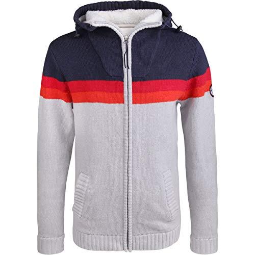 Alprausch Herren Schiilehrer Knitted Hoodie Jacke, Navy, XL