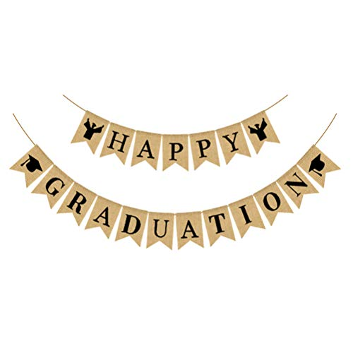 VALICLUD GIFT Happy Graduation Letter Garland Linen Banner Dovetail Pull Flag Graduation Party Suppies
