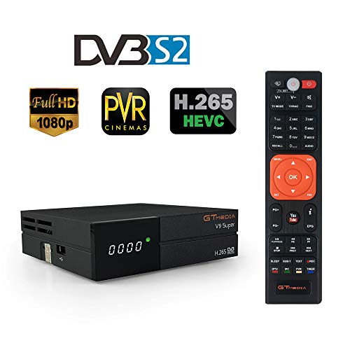GT Media V9 Super DVB S2 Decodificador, Satélite Receptor de TV Digital H.265 1080P Full HD WiFi Incorporado compatible con Ccam, Newcam, IPTV, Youtube, PVR, PowerVu, Dre y Biss Clave