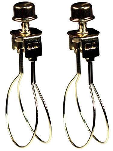 Creative Hobbies 2 Pack -Lamp Shade Light Bulb Clip Adapter Clip on with Shade Attaching Finial Top, Gold Color