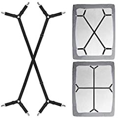 1, BED SHEET STRAPS SUSPENDERS : Multi-functional Adjustable length from 96cm/38inch –171cm/67.3inch, Nickel Plated Clamps with Fabric Protector. 2, BED SHEET HOLDER STRAPS : Fit to various beds. Perfect for fitted sheet and flat sheet, Adjustable le...