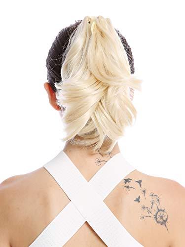 WIG ME UP - 506-V-613 Postiche couette queue de cheval court ondulé brun foncé blond platine 25 cm