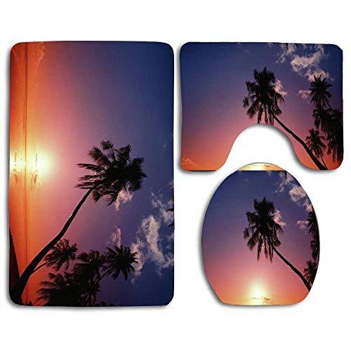 Tapis de bain Définit la silhouette des palmiers Tahiti Kevin Forest Contour Rug Housse de couvercle de toilette en forme de U, antidérapante, lavable en machine, ensemble de tapis 3 pièces plus facil