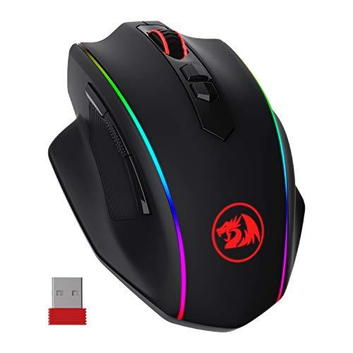 Redragon M686 VAMPIRE ELITE Kabellose Gaming Maus, 16000 DPI Kabelgebunde/Kabellose Gamer Maus mit Professionellem Sensor, 45-Stunden-Dauerleistung, Anpassbarem Makro und RGB-Hintergrundbeleuchtung
