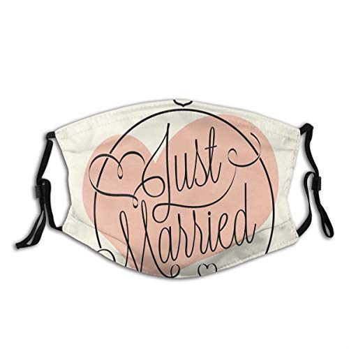 Comfortable Activated Carbon mask,Stylized Hand Writing Of Just Married On Pink Heart Tulip Flower,Printed Facial decorations for adult