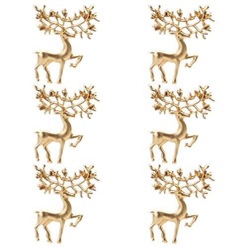 PRETYZOOM 6Pcs Weihnachtsrentierbrosche Elchbrosche Weihnachtsschmuck Weihnachtsgeschenk (Golden)