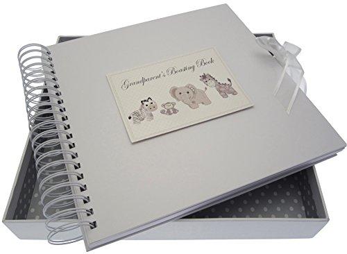 White Cotton Cards Argent Toys Grandparent S Boasting carte et livre de mémoire