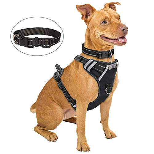 WINSEE Dog Harness No Pull, Pet Harness with Dog Collar, Adjustable Reflective Oxford