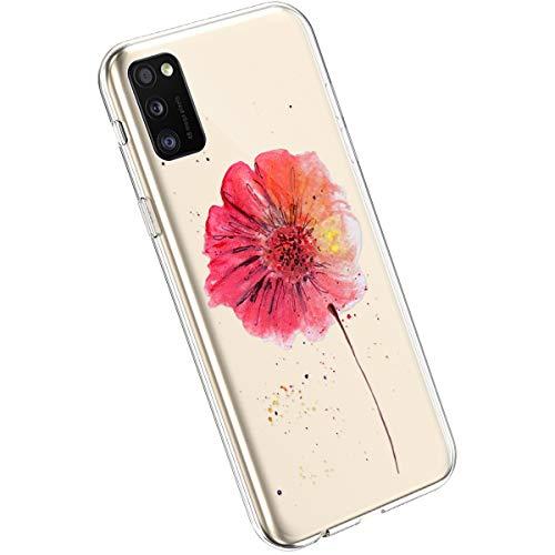 Ysimee Compatible avec Samsung Galaxy A41 Coque en Silicone Élégant et Mignon avec Conception Peinte TPU Ultra Resistant Souple Housse Flexible Antichoc Bumper Case Ultra Mince Léger Cover,Fleurs