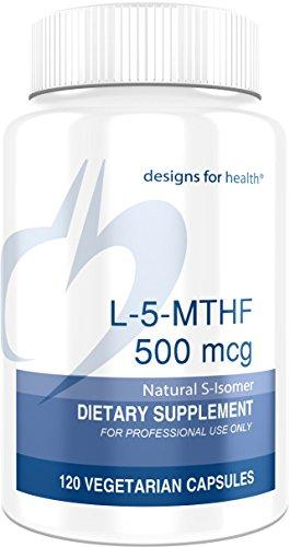 Designs for Health L-5-MTHF Folate, 500mcg (850mcg DFE) Quatrefolic Vitamin B9 Methylfolate Supplement, 120 caps, Package May Vary