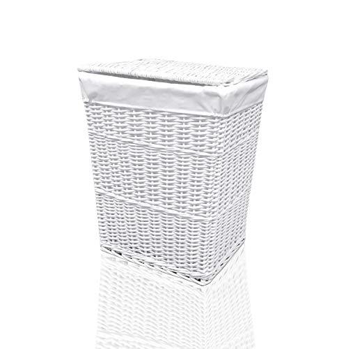 ARPAN Cesta Colada con Forro, Mimbre Blanco, Dimensions: W38 x D25 x H49 cms Approx