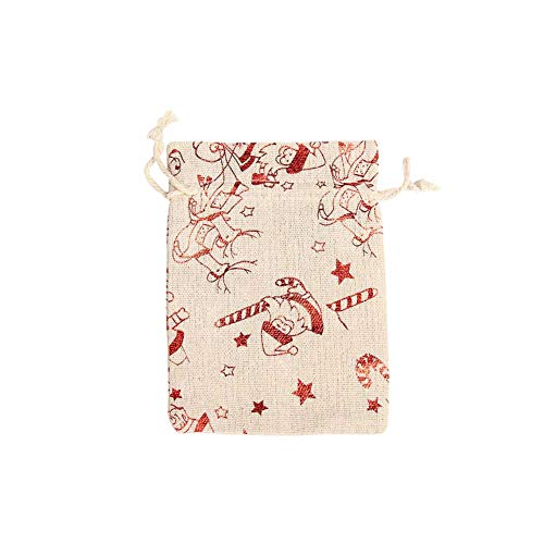 Merry Christmas Pouch Jute Gift Packaging Bag Vintage Natural Burlap Gift Candy Bags Wedding Party Favor,Style5-1pc