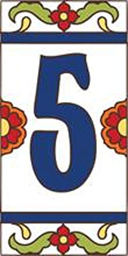 "3"" X 6"" Ceramic Tile Address House Number Talavera White #5 FIVE"