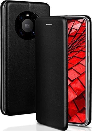 ONEFLOW Handyhülle kompatibel mit Huawei Mate 40 Pro - Hülle klappbar, Handytasche mit Kartenfach, Flip Hülle Call Funktion, Klapphülle in Leder Optik, Schwarz