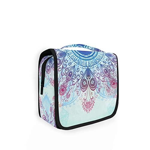 Appeso Viaggio Borsa da toilette Etnica Circolare Blu Mandala Kit Trucco Caso Cosmetici Organizzatore per Uomo Donna 8