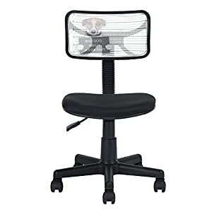 Silla de oficina Ihouse ajustable sin brazos giratoria de malla de plástico para niños, color negro