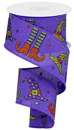 "Glitter Witch Legs & Hats Wired Edge Ribbon, 2.5"" x 10 Yards (Purple)"