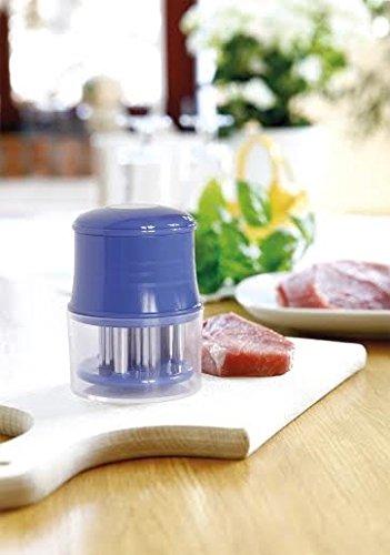 Fleischzartmacher Fleischstecher Steaker Grill Marinieren Edelstahl 56 Klingen (Blau)
