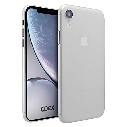 doupi UltraSlim Custodia per iPhone XR (iPhone 10r) 6,1 Pollici, Satinato fine Piuma Facile Mat Semi Trasparente Cover, Bianco