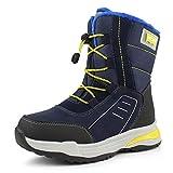 Hawkwell Boys Girls Waterproof Outdoor Warm Winter Snow Boots (Toddler/Little Kids),Blue Yellow PU,12 M US Little Kid