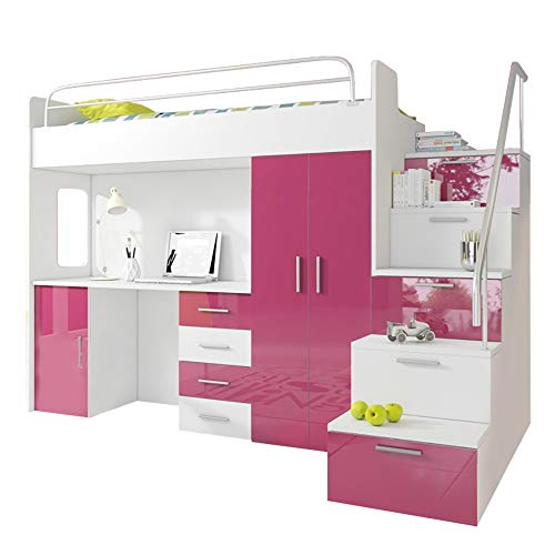 Ye Perfect Choice High Sleeper Modern Set with Wardrobe Desk and Cabin Bed with Mattress Functional Design High Gloss Inserts LUNA 4SK (White with Pink Details)