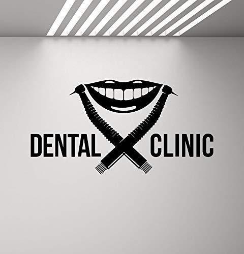 Zahnklinik Wandtattoo Zahnarzt Logo Bohrer Lächeln Stomatologie Aufkleber Poster Wandbild Abnehmbares Zitat Fenster Aufkleber 110X57Cm