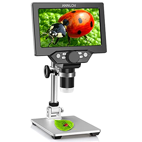 7' LCD Digital Microscope ANNLOV 1200X Maginfication 1080P Coin Microscope with Metal Stand,12MP Ultra-Precise Focusing Video Camera for Kids Adults,8 LED Fill Lights Windows/Mac Compatible