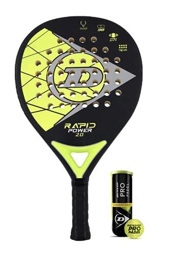 Dunlop Rapid Power - Raqueta de pádel con fundas protectoras y 3 pelotas Dunlop Pro Padel