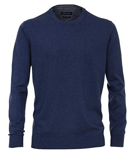 CASAMODA Herren Pullover mit Rundhalsausschnitt unifarben 004420 Elastischer Bund, Blau (Jeans 144), XXL