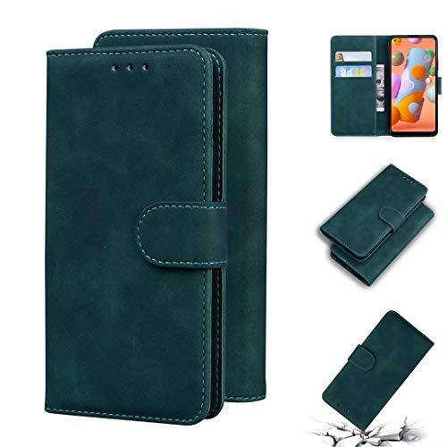 MOTO G7 Power Case PU Cuero a prueba de golpes Flip Wallet Phone Case Shock-Absorption Magnetic Cierre Stand Función Notebook Cover con titular de la tarjeta para MOTO G7 Power verde