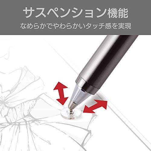 『エレコム タッチペン 極細 ディスクタイプ iPhone スマートフォン Nintendo Switch 対応 サスペンション機能付 ペン先交換可能 グレー P-TPLD01GY』の3枚目の画像