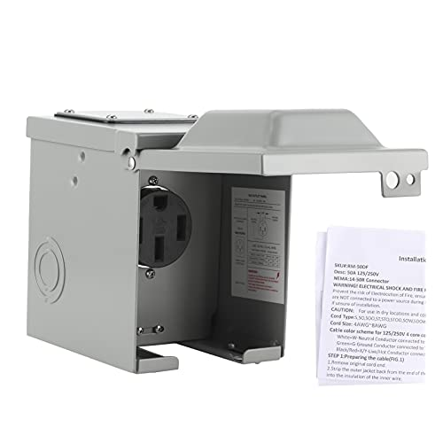 Caja de tomacorrientes para vehículos recreativos de 50 amperios Enchufe de EE. UU. Con cerradura a prueba de intemperie para exteriores 14‑50R