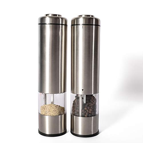 Battery Operated Salt and Pepper Grinder Set of 2 - Electric Stainless Steel Salt & Pepper Mills(2) -Powerful and Refillable Shakers - Automatic Grinders with lights and Adjustable Coarseness